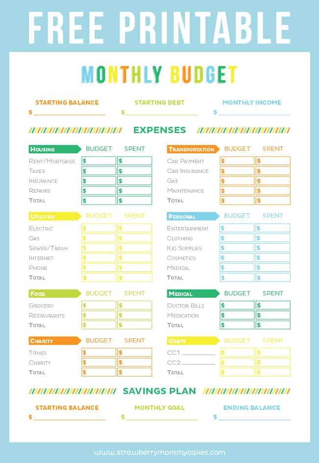 Printable Budget Sheet from Printable Crush
