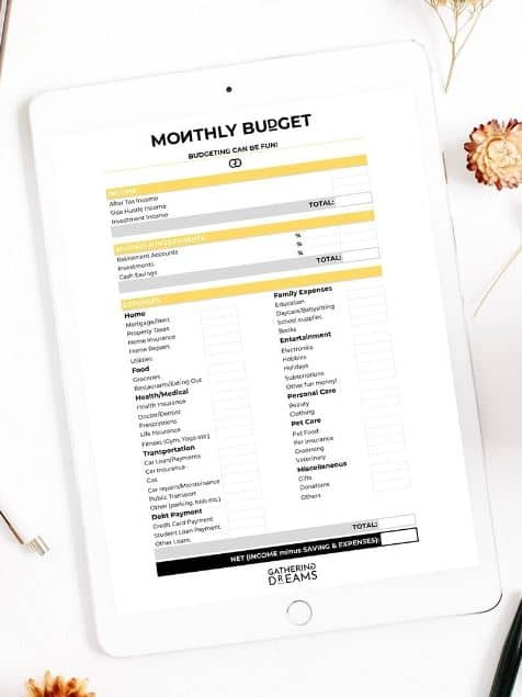 Free Printable Budget Template from Gathering Dreams