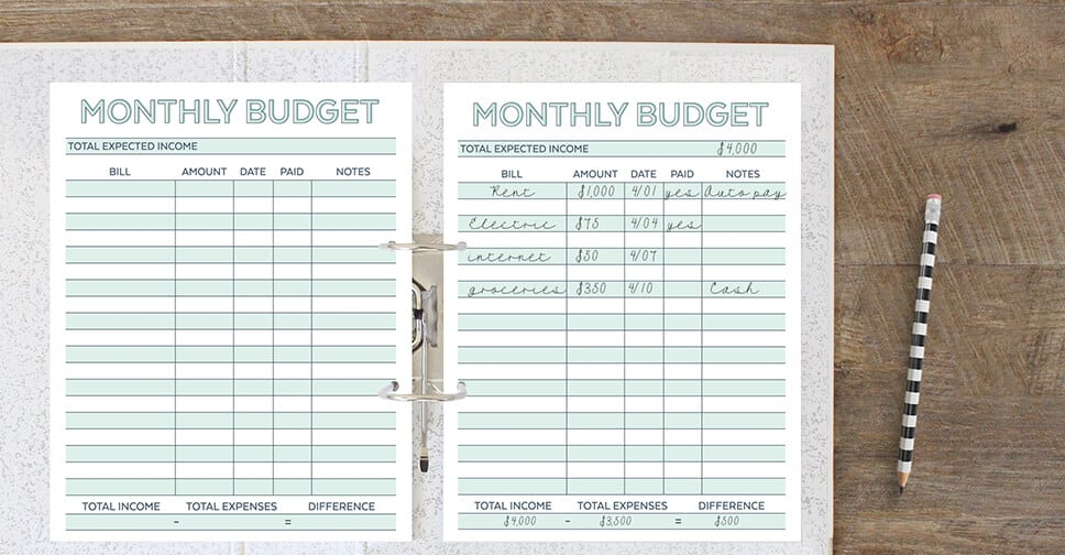 Free Monthly Budget Worksheet from Savor and Savvy