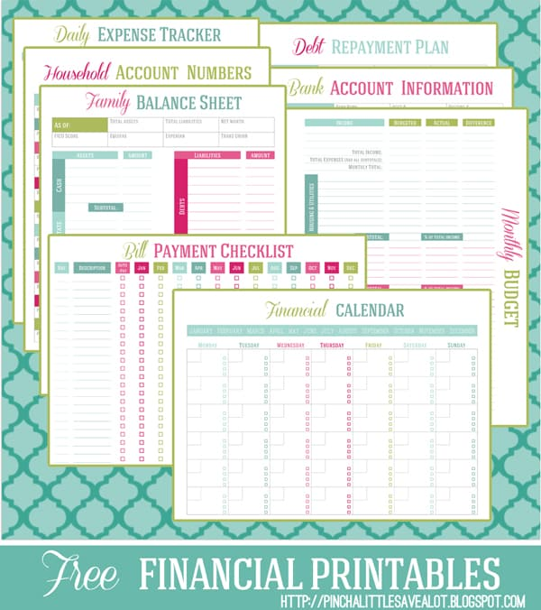 free financial printable and budget worksheet