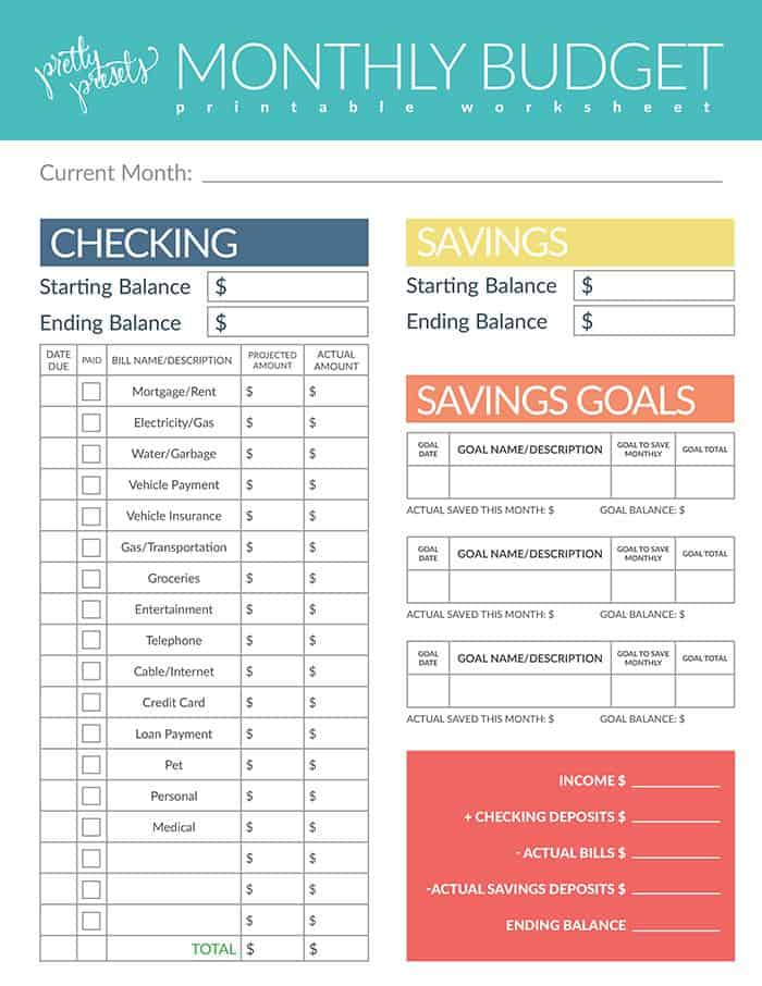 Printable Monthly Budget Worksheet from Pretty Presets