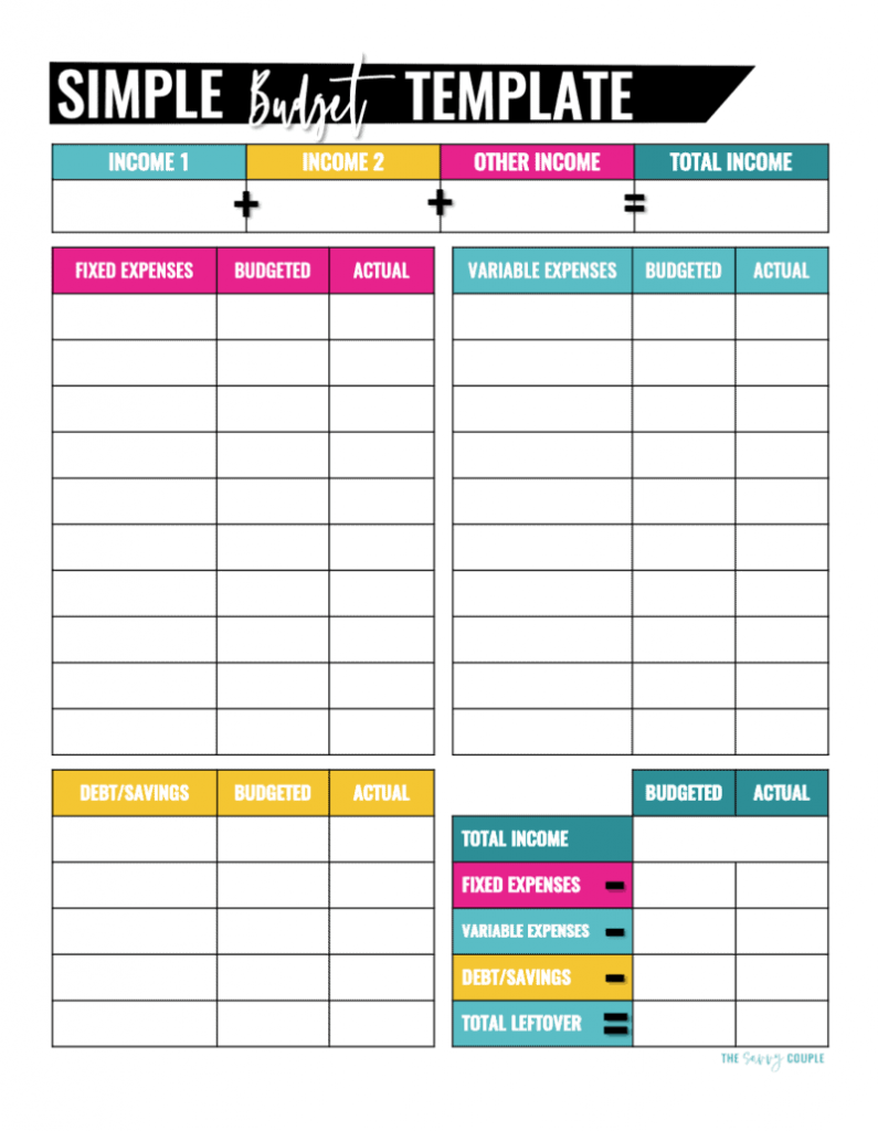 Simple Monthly Budget Printable from The Savvy Couple